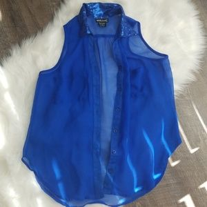 Wet Seal blue sequined blouse